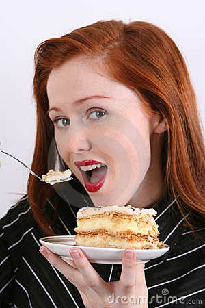 Free Woman Eating Cake Royalty Free Stock Photography - 3482617