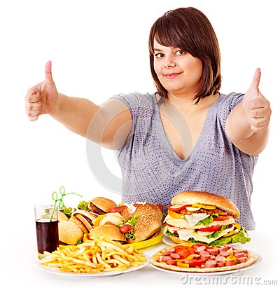 Free Woman Eating Fast Food. Stock Photography - 27568872