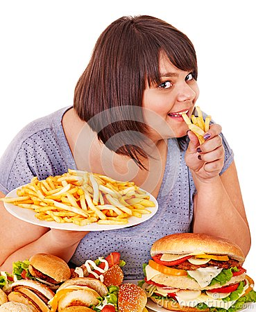 Free Woman Eating Fast Food. Royalty Free Stock Photos - 28031708