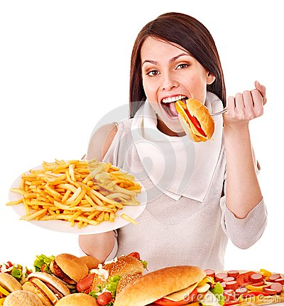 Free Woman Eating Fast Food. Stock Photos - 28031743