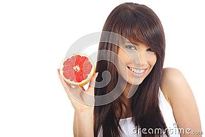 Woman eating fruite
