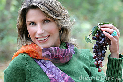 Woman Eating Grapes, Fall Theme