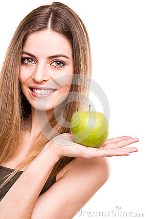 Free Woman Eating Green Apple Royalty Free Stock Images - 33925379