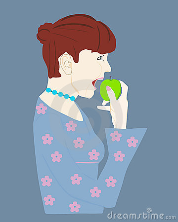 Woman eating healthy fruit