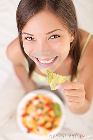 Free Woman Eating Nachos Stock Image - 17719641