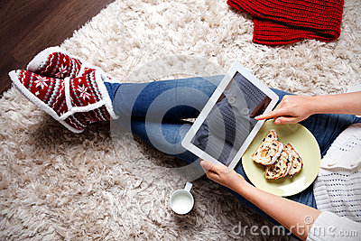 Woman eating traditional christmas cookies Stock Photo
