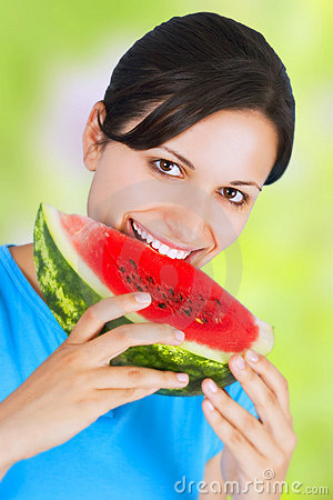 Free Woman Eating Watermelon Stock Image - 5541311