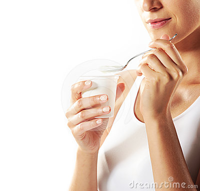 Free Woman Eating Yogurt Royalty Free Stock Photo - 24552775