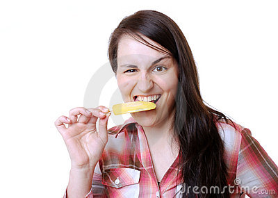 Woman eats a popsicle