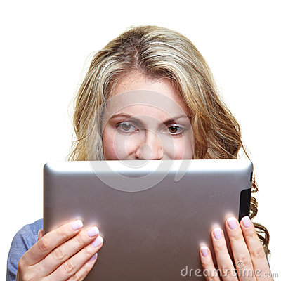 Woman with ebook reader