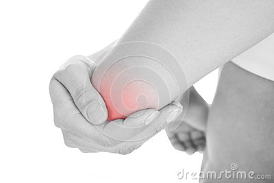 Woman with elbow pain