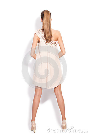 Woman in elegant dress back view