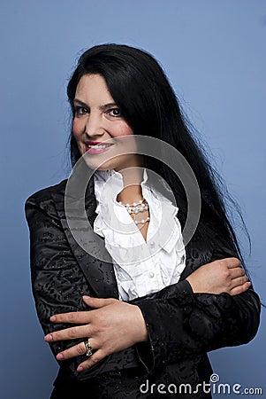 Woman in elegant shinny suit