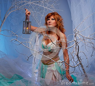 Woman elf with a lantern