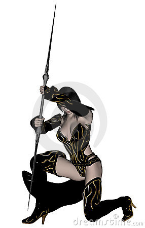 Woman elf warrior with spear