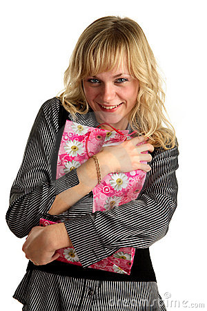 Woman embrace shopping bag