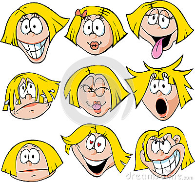 Woman emotions - illustration of woman with many f