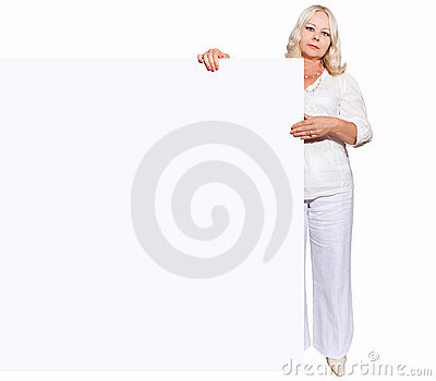 Woman with empty board - 50 years old