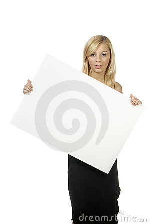 Woman with empty poster