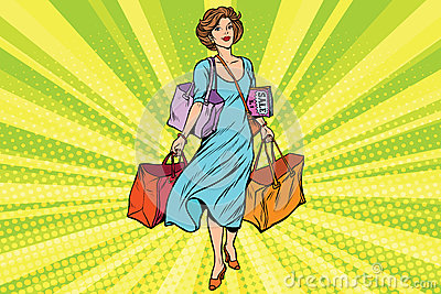 Woman with empty shopping bags Vector Illustration