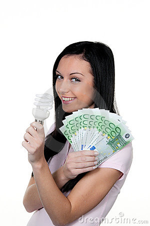 Woman with energy-saving lamp