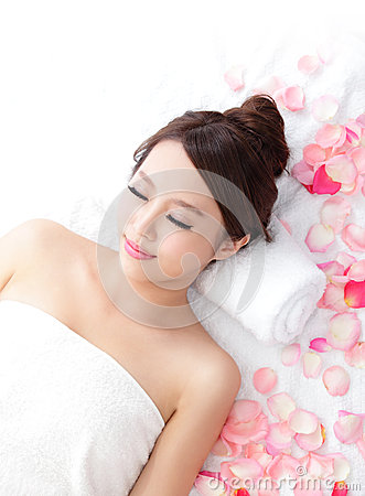 Woman enjoy massage at spa