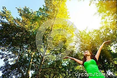 Woman enjoy the sun