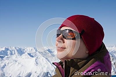 Woman enjoy sun in winter