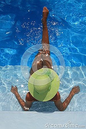 Free Woman Enjoying A Swimming Pool Royalty Free Stock Image - 6050876