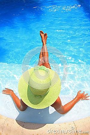 Free Woman Enjoying A Swimming Pool Royalty Free Stock Image - 6100146