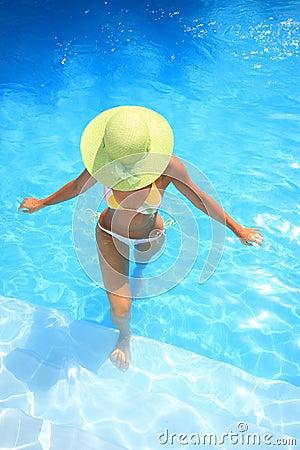 Free Woman Enjoying A Swimming Pool Stock Photo - 6100270