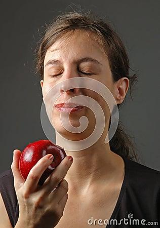 Woman enjoying apple