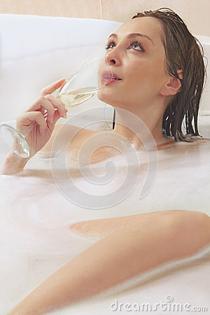 Woman is enjoying a bath
