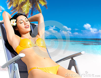 Woman enjoying at beach