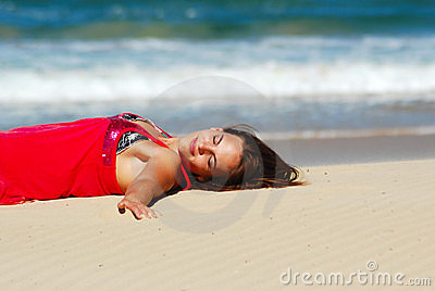 Woman enjoying beach sunbath