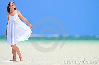 Woman enjoying beach vacation