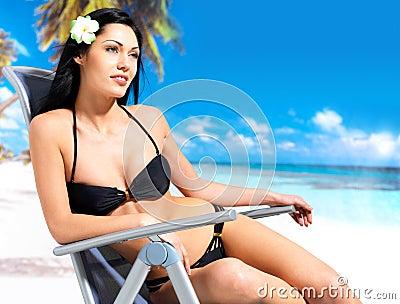 Woman enjoying at beach