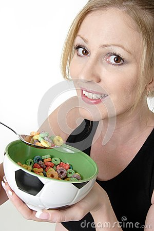 Woman enjoying a bowl of cereal