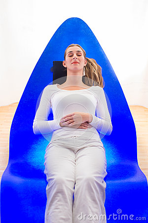 Woman enjoying a color therapy