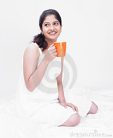 Woman enjoying her drink