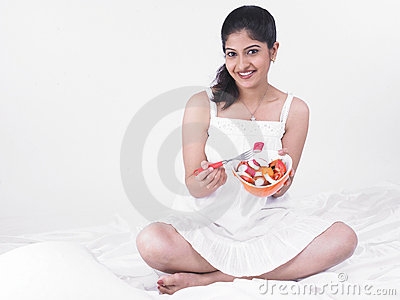 Woman enjoying her salad