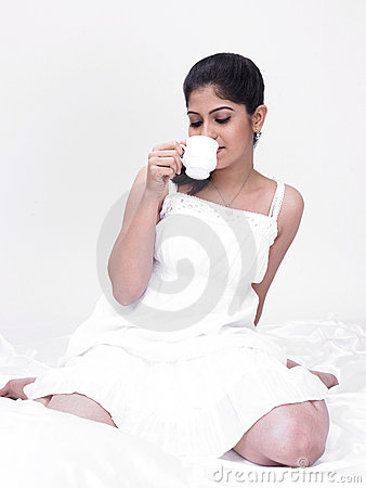 Woman enjoying her tea