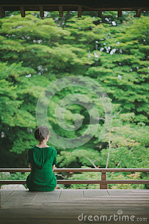 Free Woman Enjoying Japanese Garden From A Temple Terrace, Kyoto, Japan Stock Photos - 63239923