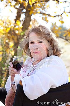Woman enjoying red wine