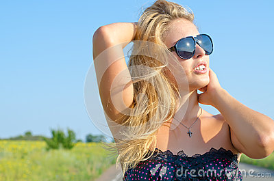 Woman enjoying the summer sun