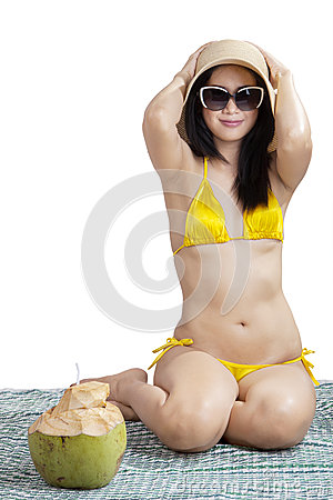 Free Woman Enjoying Summertime Isolated Royalty Free Stock Images - 41593419