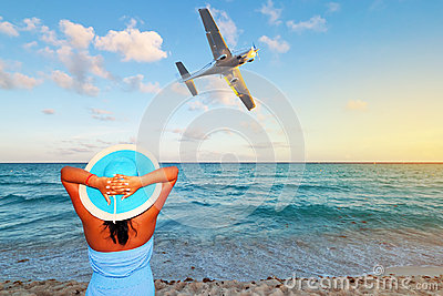 Woman enjoying tropical holidays