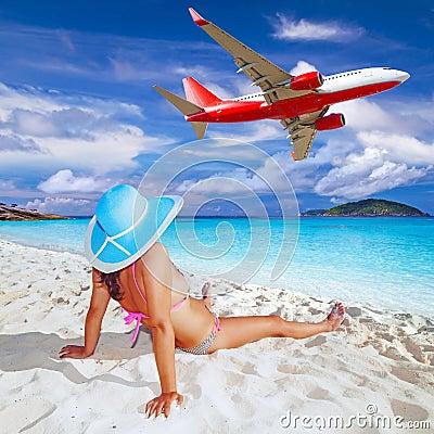 Woman enjoying tropical holidays.