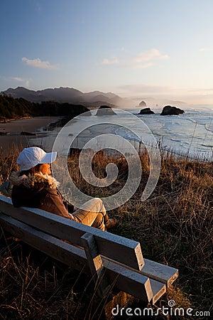 Woman enjoying view at Oregon Coast
