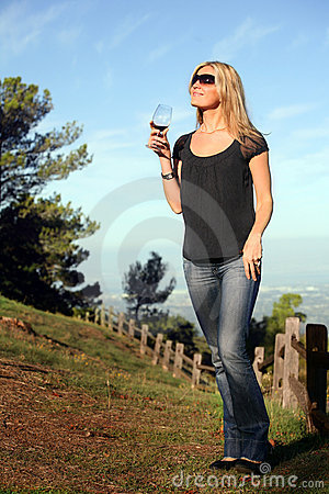 Woman enjoying wine